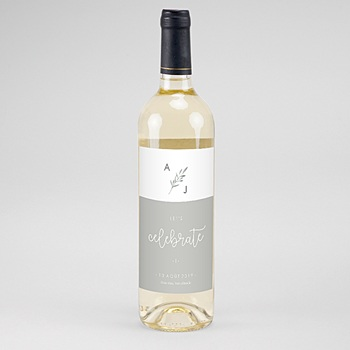 Étiquette bouteille mariage - Rameaux Aquarelle - 0