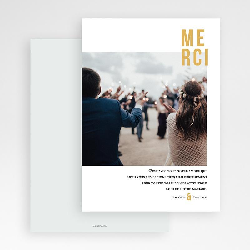 Carte remerciement mariage photo Photo & Typo gratuit