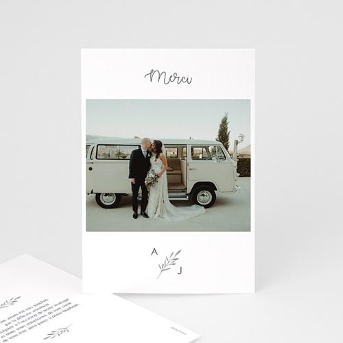 Carte remerciement mariage chic Rameaux Aquarelle