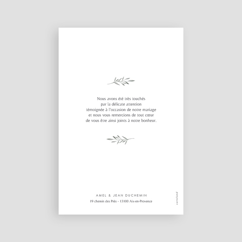 Carte remerciement mariage chic Rameaux Aquarelle pas cher