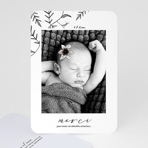Carte remerciement naissance fille Anémone vintage