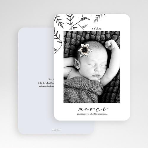 Carte remerciement naissance fille Anémone vintage gratuit