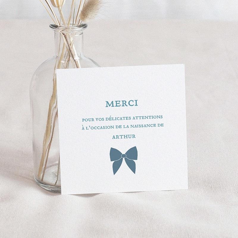Carte Remerciement Naissance Garçon Noeud Chic Bleu