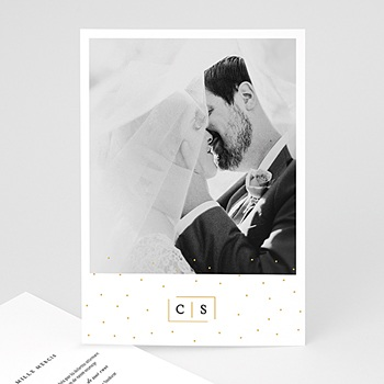 Carte remerciement mariage photo Touches d'or