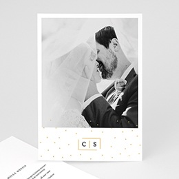 Carte remerciement mariage photo Touches d'or
