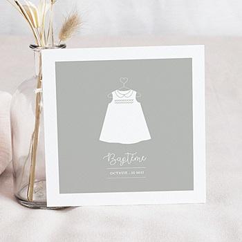 Faire-part Baptême Fille - Robe de lumière - 0