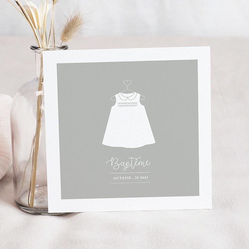 Faire-part Baptême Fille - Robe de lumière 61627 thumb