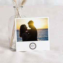 Carte remerciement mariage voyage Bleu Grec