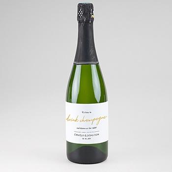 Étiquette bouteille mariage - Marinière or bleu - 0