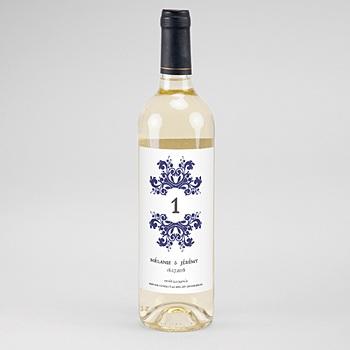 Étiquette bouteille mariage - Bleu Ottoman - 0