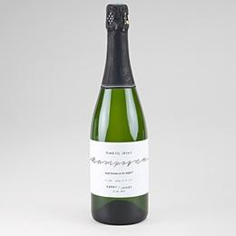 Étiquette bouteille mariage Minimaliste Gris & Blanc