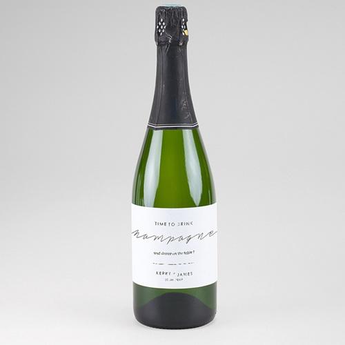 Etiquette bouteille mariage Minimaliste Gris & Blanc