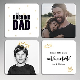 Dessous de Verre Personnalisé Photo - Cheer Rocking Dad - 0