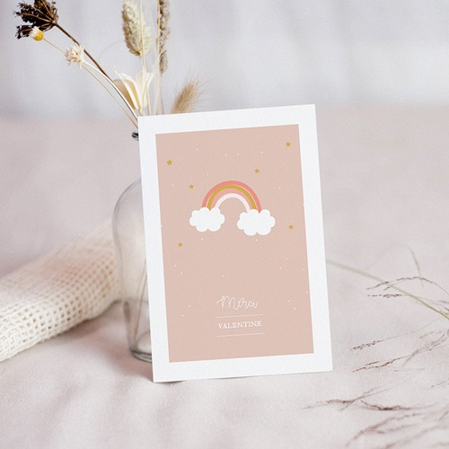 Carte Remerciement Baptême Fille Arc-en-ciel