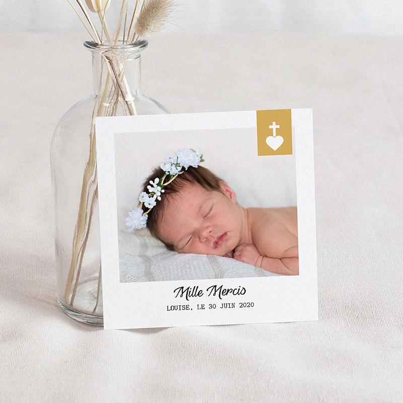 Carte Remerciement Baptême Fille Croix et Or