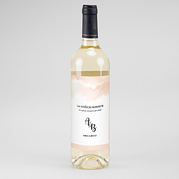Étiquette bouteille mariage - Aquarello - 0