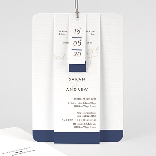 Faire Part Mariage chic - Blue Color Touch 62074 thumb