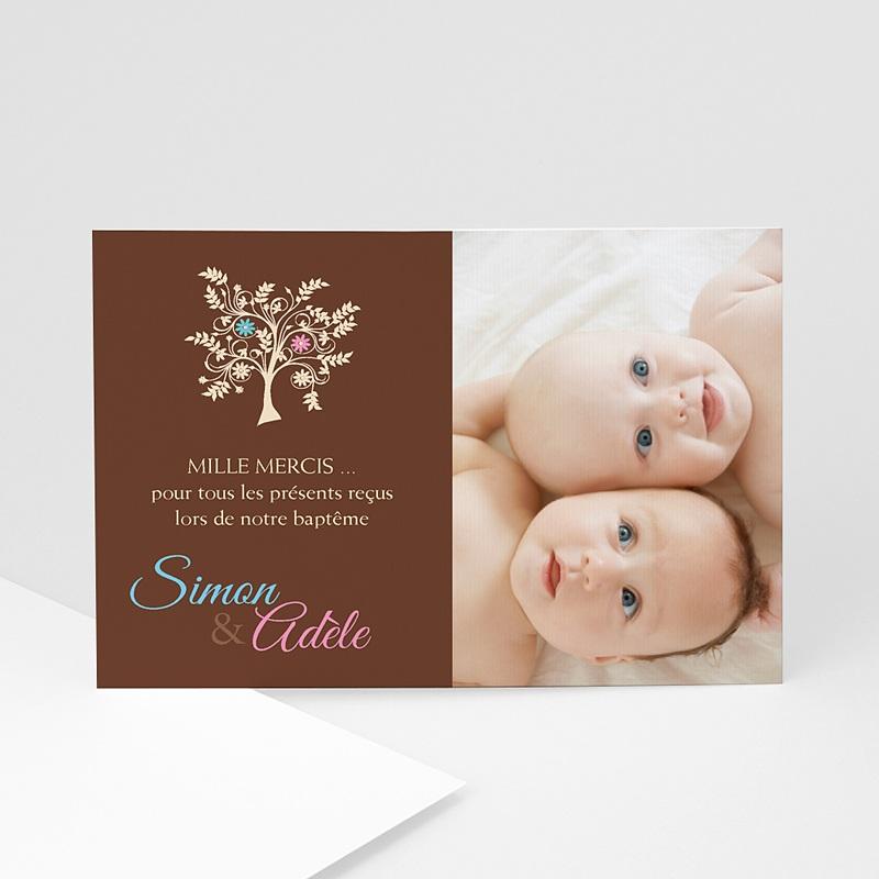 Carte Remerciement Baptême Garçon L'arbre de l'amour - Bleu