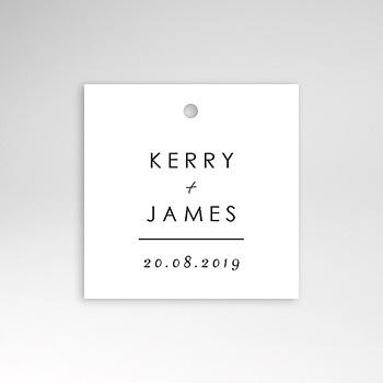 Etiquette mariage minimaliste gris et blanc sur mesure