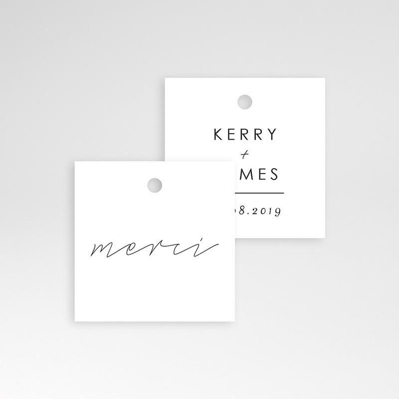 Etiquette Cadeau Mariage Minimaliste Gris & Blanc pas cher