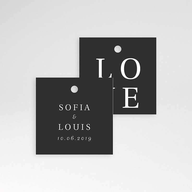 Etiquette Cadeau Mariage Carré Typographique pas cher