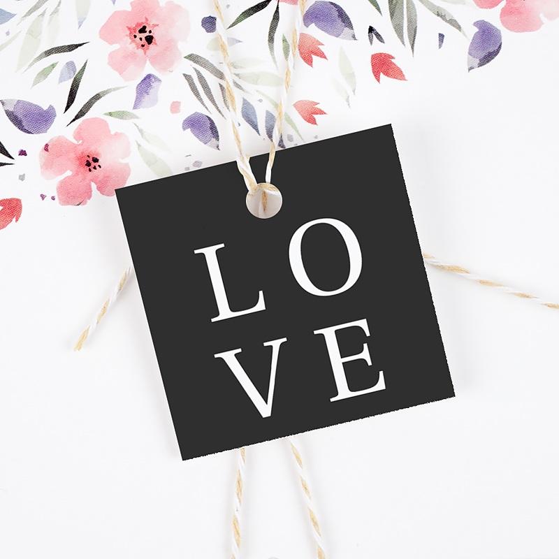 Etiquette Cadeau Mariage Carré Typographique gratuit