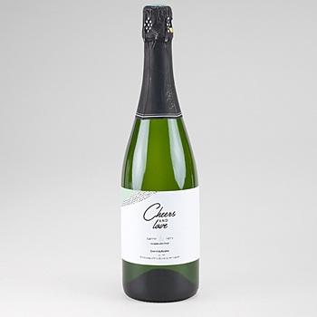 Etiquette bouteille mariage Vert & Doré