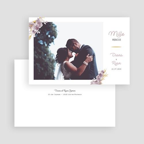 Carte remerciement mariage photo Vintage Chic Rose gratuit