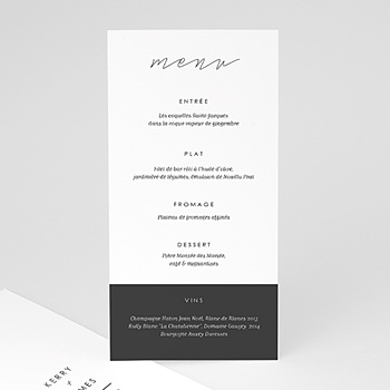 Menu de Mariage - Minimaliste Gris & Blanc - 0
