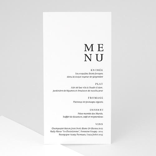 Menu Mariage Carré Typographique