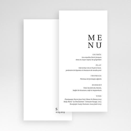 Menu Mariage Carré Typographique pas cher