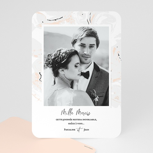 Carte Remerciement Mariage Photo Marbre Forever