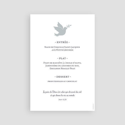 Menu Communion Holy spirit gris pas cher
