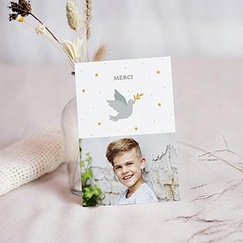 Carte remerciement communion garçon - Holly spirit gris - 0