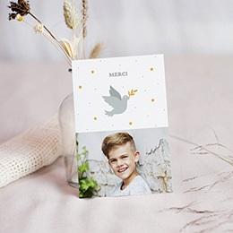 Carte remerciement communion garçon Holy spirit gris