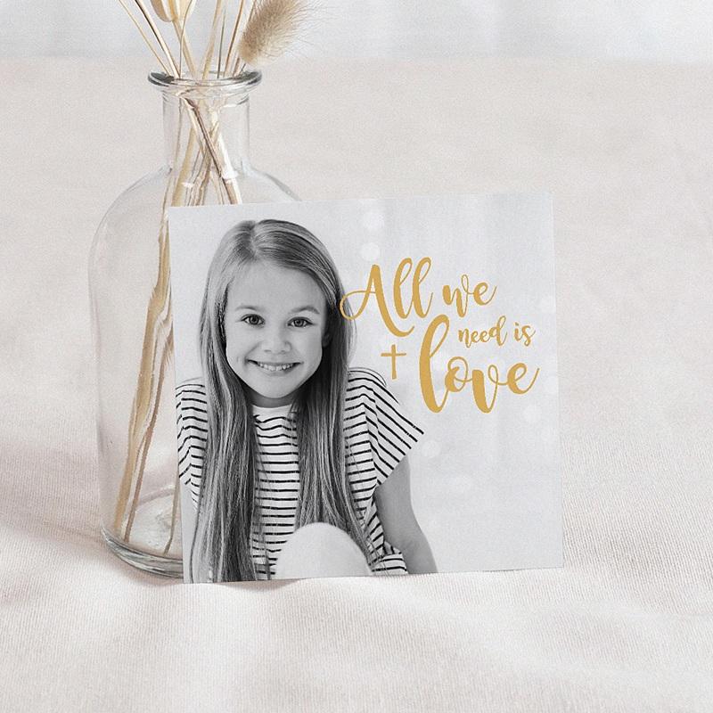Carte Remerciement Communion Fille Love Jesus, 10 cm x 10 cm
