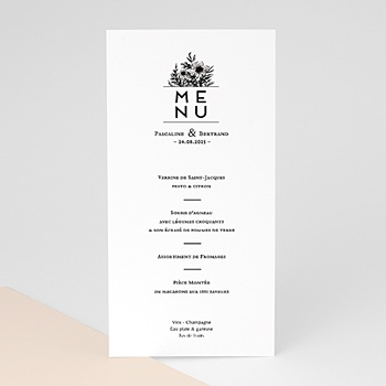 Menu de Mariage - Black Flowers Pastel - 0
