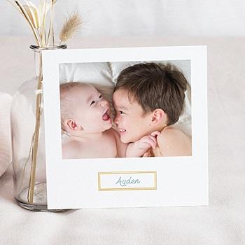 Faire-part naissance photo cadre doré