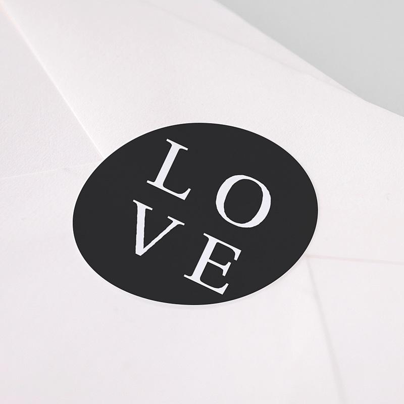 Etiquette Autocollante Mariage Carré Typographique pas cher