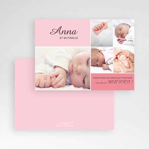 Carte remerciement naissance fille Anna pas cher