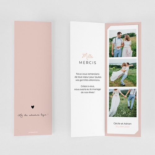 Carte remerciement mariage original 2 coeurs gratuit