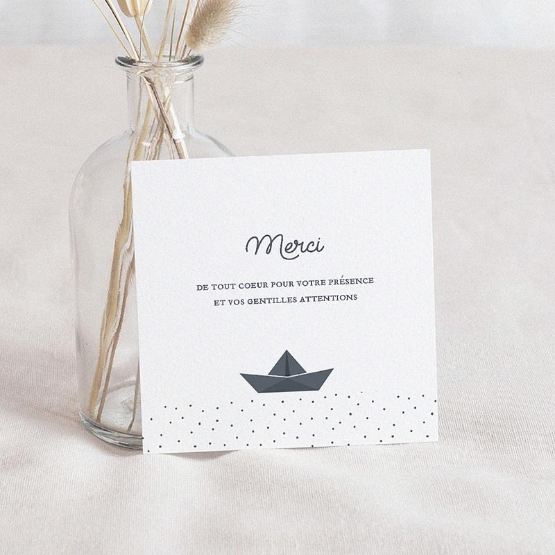 Carte Remerciement Baptême Garçon Bateau Papier