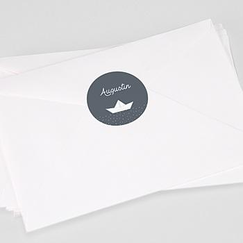 Étiquette autocollante baptême - Bateau Papier - 0