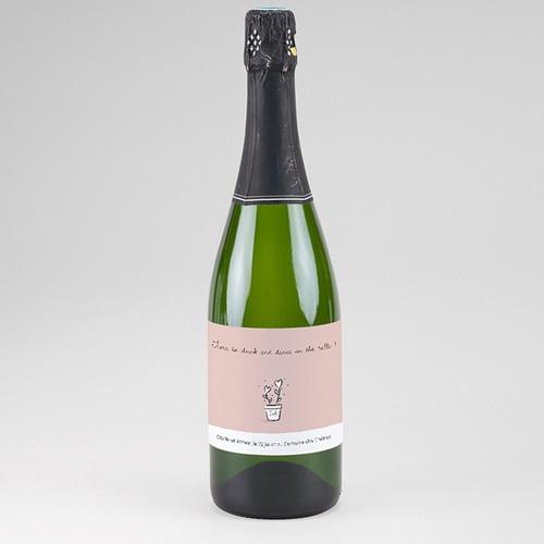 Etiquette Bouteille Champagne 2 coeurs