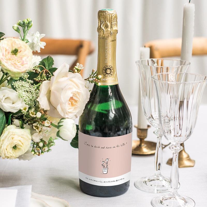 Etiquette Bouteille Champagne 2 coeurs gratuit