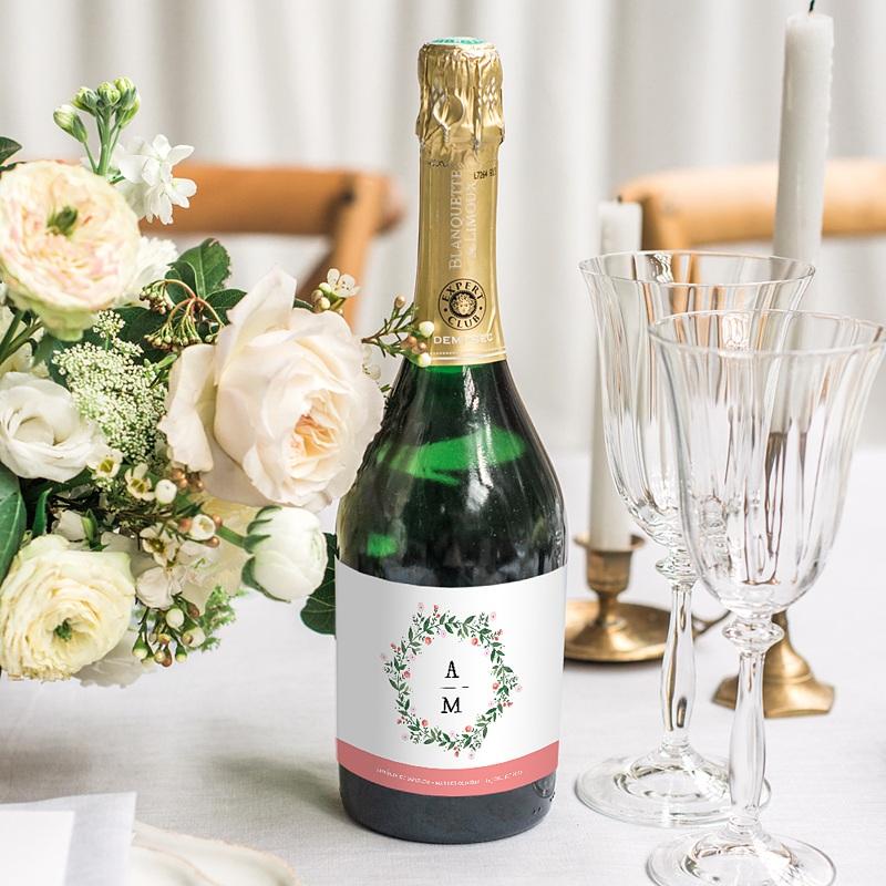Etiquette Bouteille Mariage Fleurs d'été gratuit