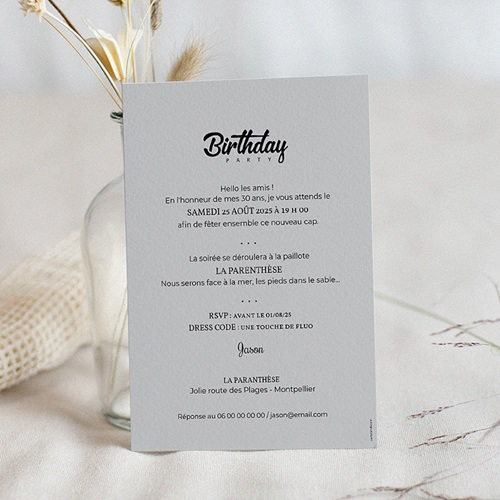 Invitation Anniversaire 30 ans - Birthday Party 63678 thumb