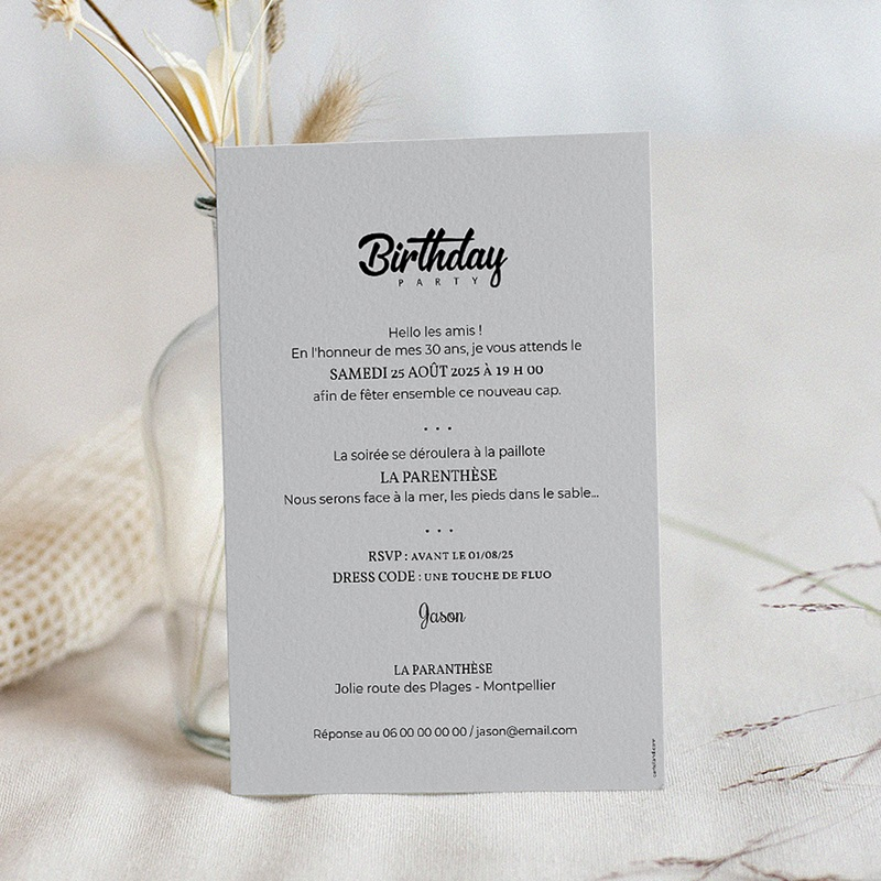 Carte invitation anniversaire 30 ans Birthday Party pas cher