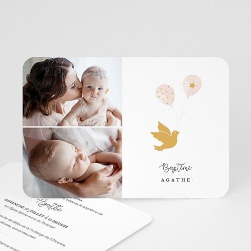 Faire-part Baptême Fille - Colombe Dorée 63953 thumb