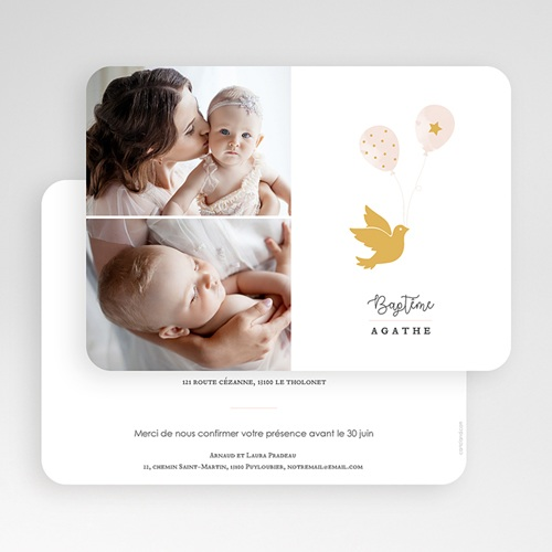 Faire-part Baptême Fille - Colombe Dorée 63955 thumb